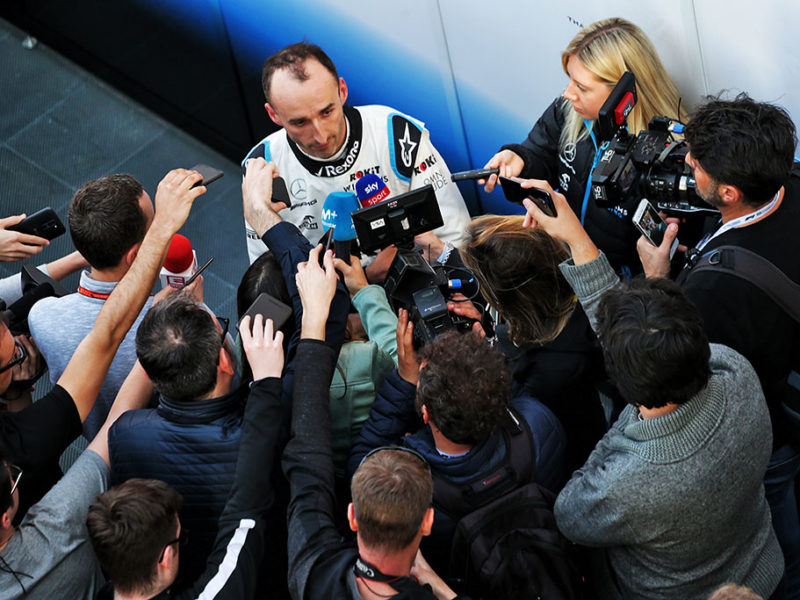 Robert Kubica (POL) Williams Racing with the media. Formula One Testing, Day 2, Wednesday 27th February 2019. Barcelona, Spain.
